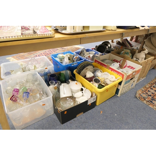 125 - Large quantity of household china, glassware, miscellany and kitchenalia (11 boxes)...