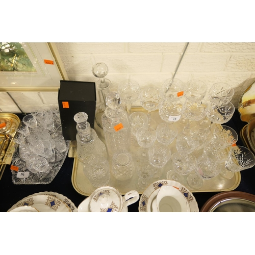 15 - Six Stuart Crystal hock glasses, other cut glassware including decanters...