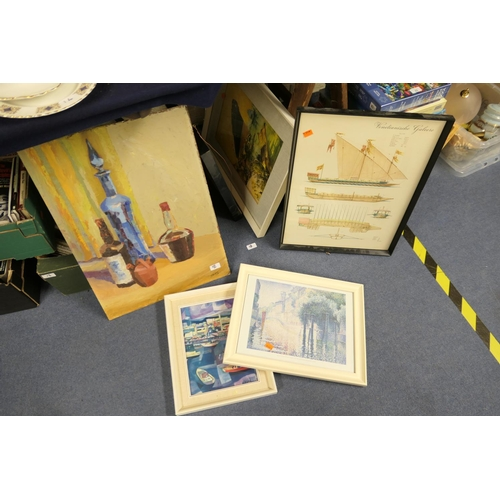 18 - Small number of framed prints and an unframed oil painting...