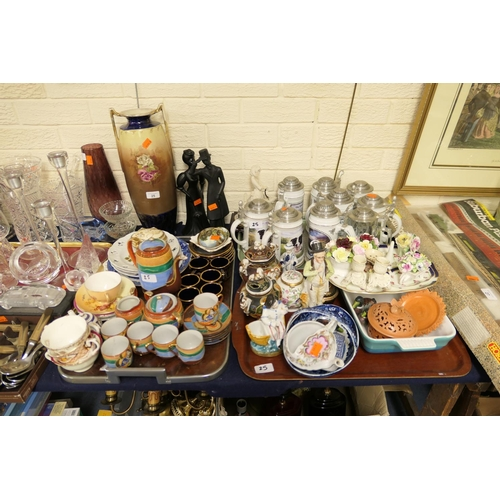 25 - Mixed ceramics including limited edition Davenport Pottery steins, Royal Worcester peach ground cup ...