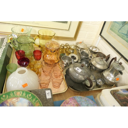 28 - Mixed pewter wares and assorted glassware including cranberry wines (2 trays)...