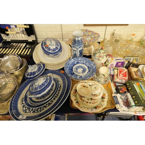 3 - Royal Winton Chintz comport, blue and white dinner wares, Royal Cauldon coffee pot etc...