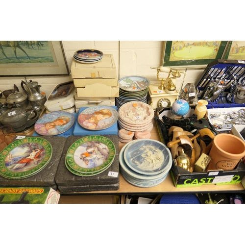 31 - Assorted collectors' plates, many with boxes, wooden shoe trees, ornamental telephone etc...