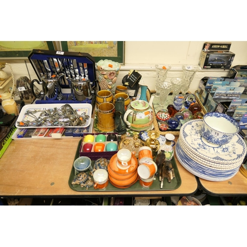 33 - Cased cutlery, assorted souvenir spoons, mixed ceramics, glass paperweights (4 trays)...