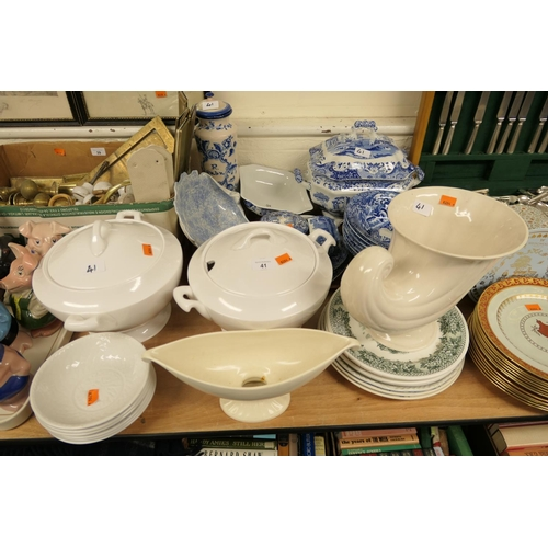 41 - Spode's Italian pattern covered tureen, matching bowls, other blue and white wares, white glazed tur...