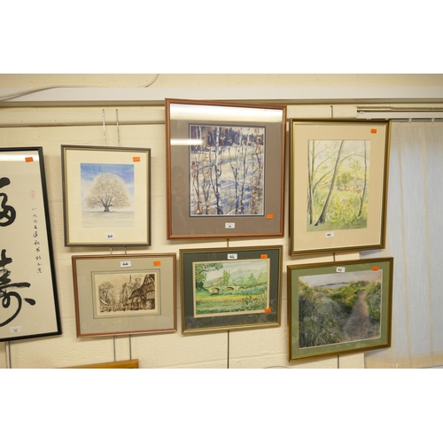46 - Manner of A. K. Maderson birch trees watercolour; also four further watercolours and a framed limite...