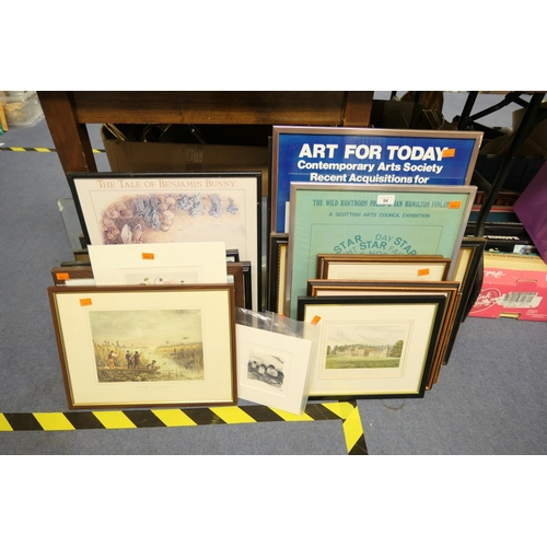 94 - Number of framed prints including art posters also an unframed mirror...