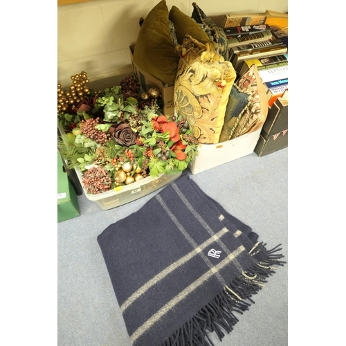 36 - Rolls Royce Motors woollen travel blanket, various tapestry cushions and assorted floral decorations...