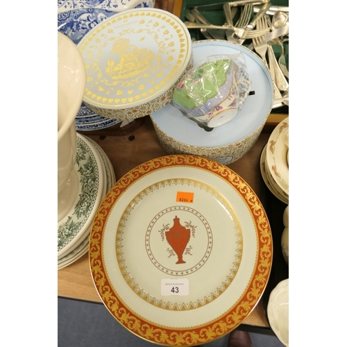43 - Twelve Minton stoneware plates, circa 1929; also a Wedgwood boxed cup and saucer...
