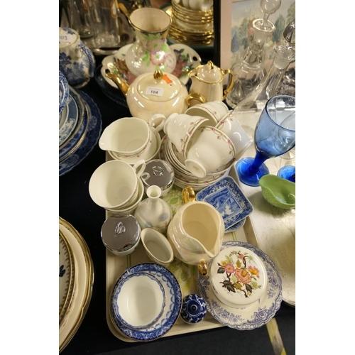 104 - Maling Peony dish, other mixed ceramics including Duchess china tea wares...