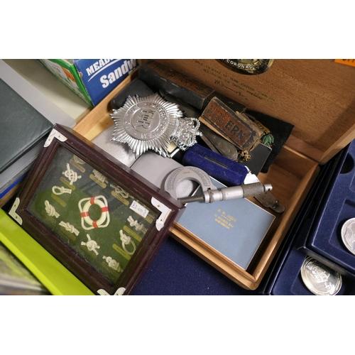 416 - British Railways enamelled cap badge, assorted cufflinks, Police helmet plates, micrometer etc...