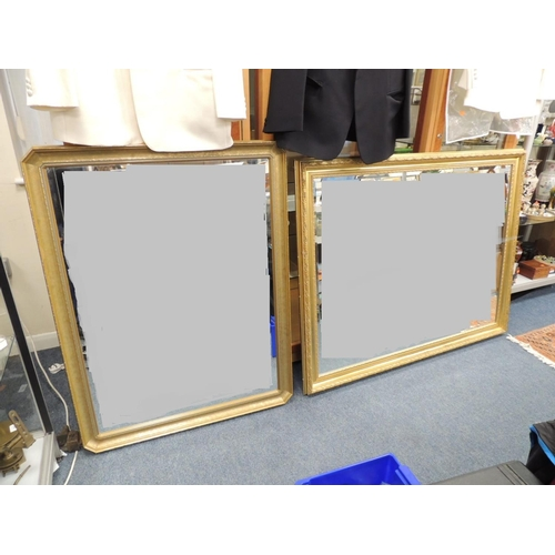 459 - Large modern gilt framed bevelled glass wall mirror and a further modern gilt framed bevelled glass ...