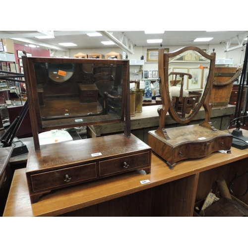624 - Regency mahogany toilet mirror fitted with drawers; also a further serpentine front toilet mirror wi...