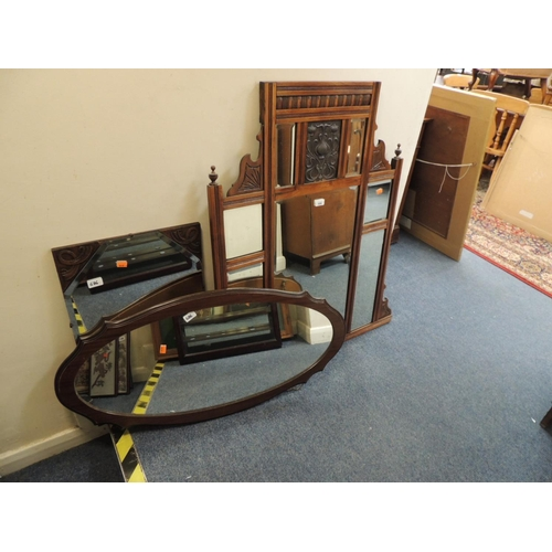 686 - Victorian walnut over mantel mirror, two further mirrors (3)...