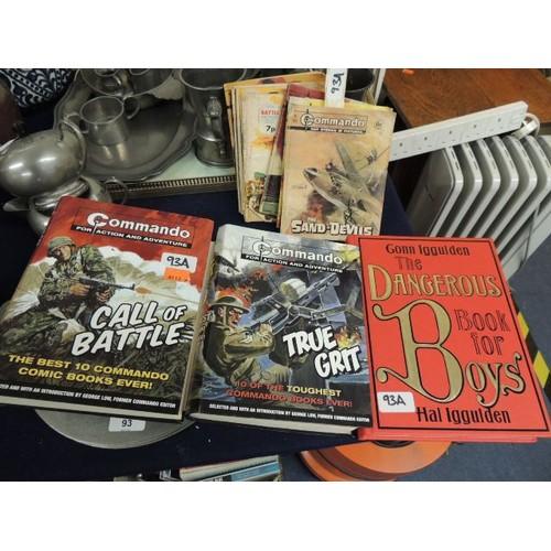 "93A - Two Commando multi edition books also several vintage Commando and Battle booklets and ""The Dangerou..."