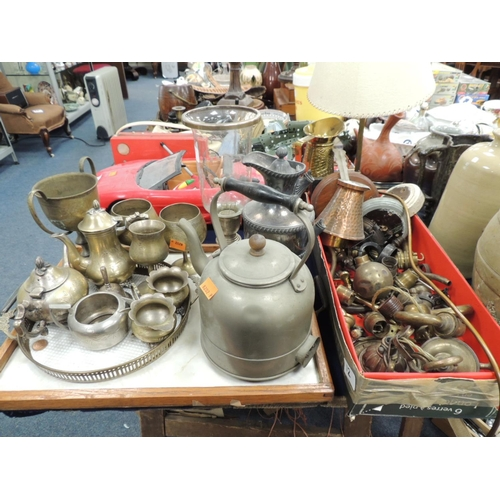 12 - Mixed metal wares including assorted light fittings, plated goblets, storm lantern etc....