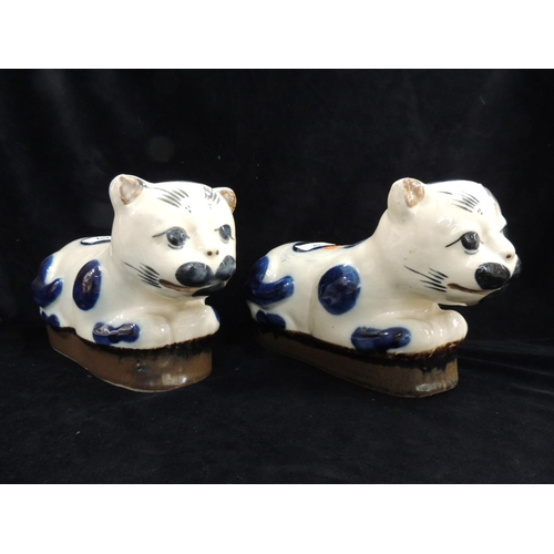 42 - Pair of Japanese pottery cat neck rests...