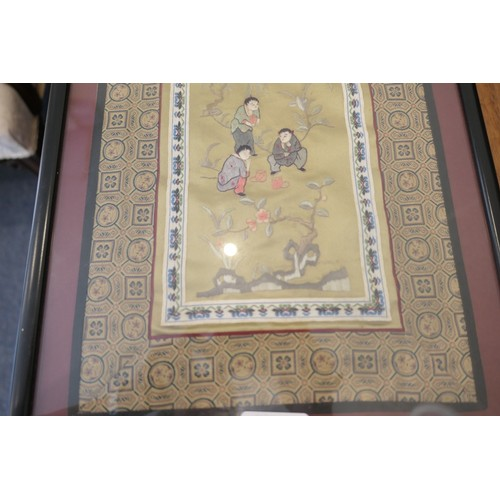 20 - 19th Century Chinese embroidered panel of a cuff framed; also a tall Chinese silk panel depicting th...
