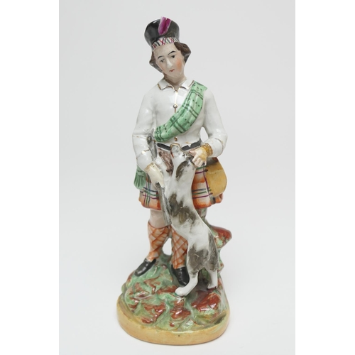 56 - Pair of Staffordshire flatback greyhound and hare figures, circa 1870, height 28cm; also a Staffords...