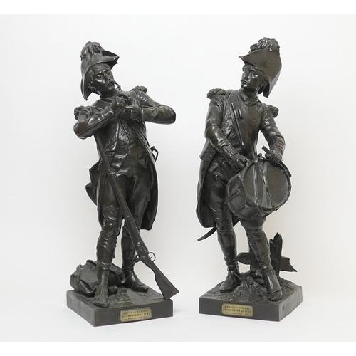 674 - Henri Etienne Dumaige (1830-88), Pair 'Avant le Combat, Volontaire de 1792' and 'Apres le Combat, Gr...