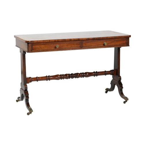 737 - Late Regency mahogany centre table, circa 1825, fitted with a single frieze drawer with a two blind ...