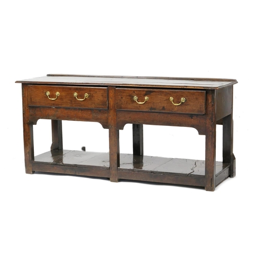 756 - George I oak low dresser, circa 1720, of small proportions, fitted with two drawers with brass swan ...