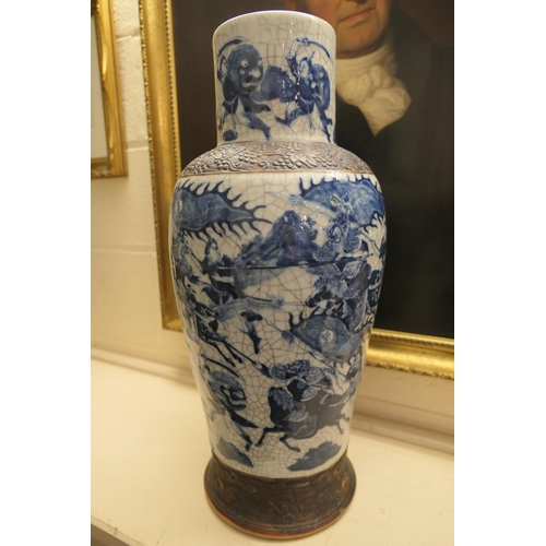 54 - Chinese blue and white crackle glazed vase, late 19th Century, of large proportions, having a cylind...