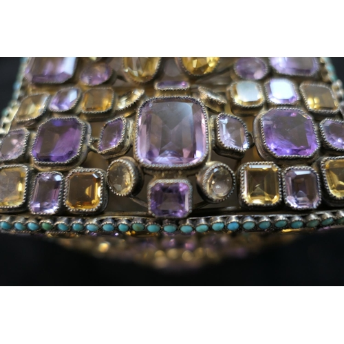443 - Late Victorian or Edwardian jewelled silver gilt casket, circa 1900, rectangular form worked through...