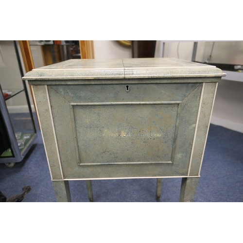 766 - Rare shagreen and mahogany fall and rise drinks cabinet, circa 1925-35, retailed by John Bagshaw & S...