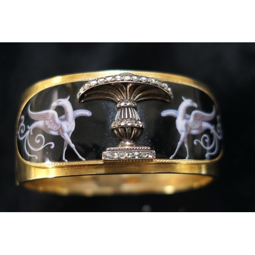 371 - Victorian Etruscan Revival gold and enamelled bangle and brooch, circa 1875, the bangle enamelled wi...