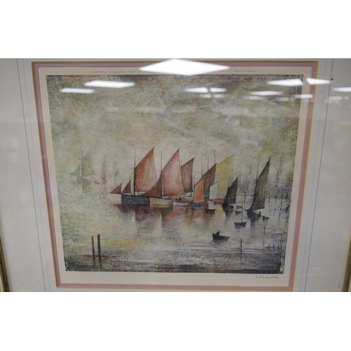 467 - Laurence Stephen Lowry (1887-1976), Sailing Boats, offset lithograph in colours, published 1975, sig...