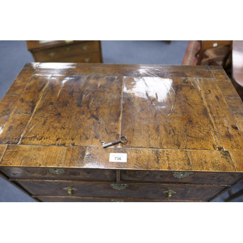 736 - Queen Anne walnut chest on stand circa 1710, of small proportions, fitted with two short and two lon...