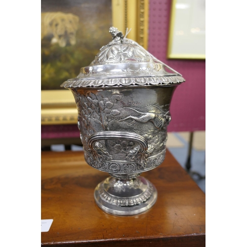 147 - George III silver lidded ice bucket, by Rebecca Emes and Edward Barnard, London 1813, later repousse...