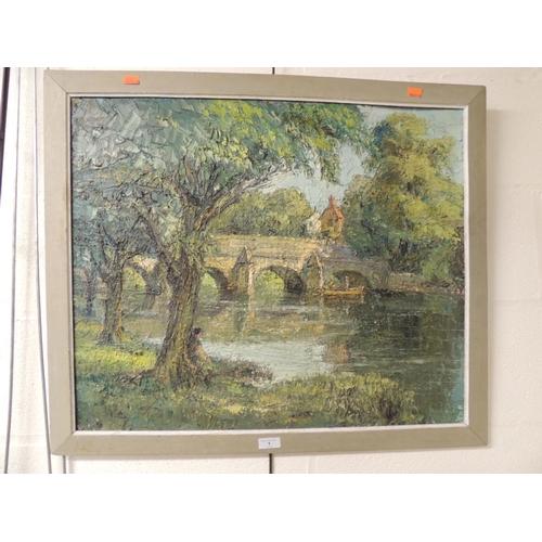 1 - Manner of Letitia Marion Hamilton, Bridge over a river scene, oil on board, framed