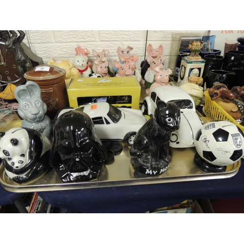 10 - Mixed Wade and other moneyboxes including NatWest piggybanks and a Lucas film Darth Vader moneybox (...