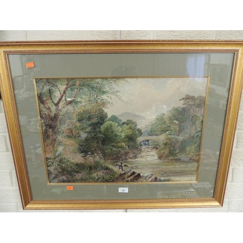 16 - English school 'Trout fishing on the falls', watercolour, indistinctly signed and framed