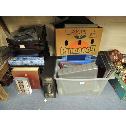 21 - Coin collectors interest: assorted empty coin collector albums, cases etc (5 boxes)