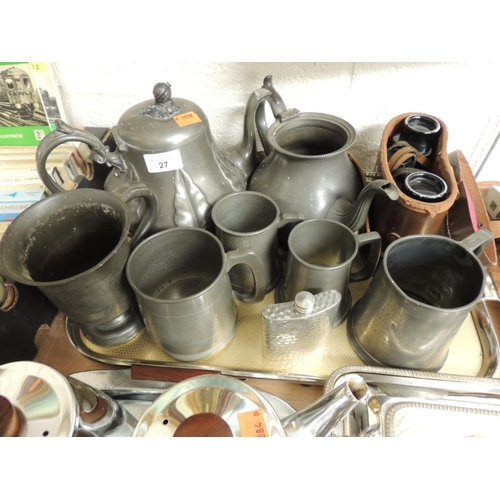 27 - Victorian pewter wares including teapot, pedestal mounted tankard, further tankards, later pewter wa...