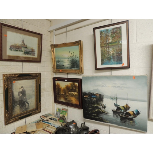 29 - Oil on canvas of anchored fishing boats, indistinctly signed, a G.Burrell, oil of a woodland lakesid...