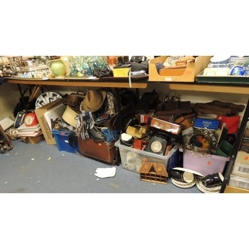 31 - Very large quantity of household items including ceramics, glass, clothing in suitcase, boxed ceilin...