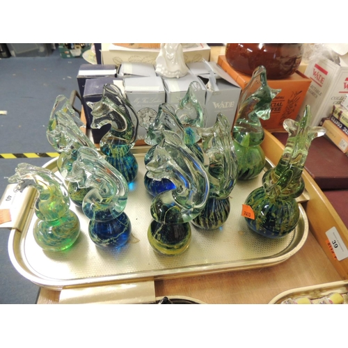 40 - Eleven Mdina seahorse paperweights