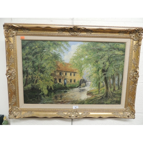 44 - W. P. Kilner, 'The watermill', oil on board, in gilt frame, size 69 x 44cm