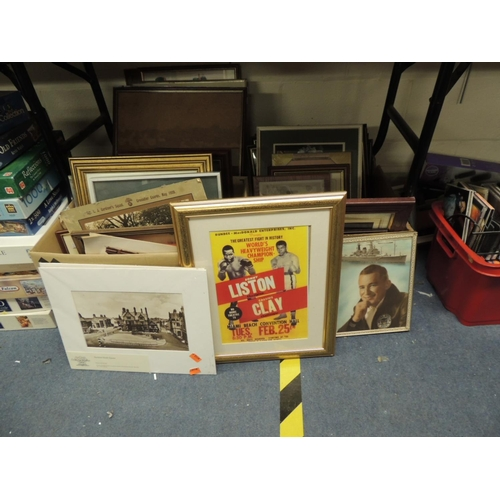 46 - Mixed framed and unframed prints and photographs etc (2 boxes)
