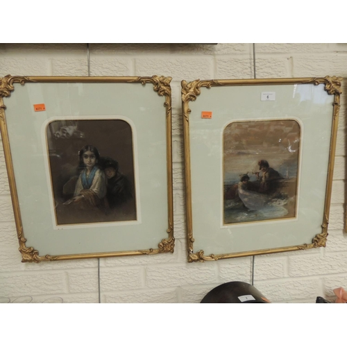 6 - Attributed to Karl August Bielchowski (1826-1883) Pair, pastel and watercolour, in gilt frames, indi...