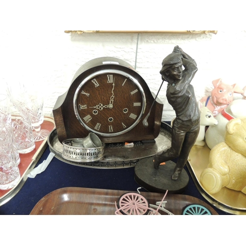 7 - Oak mantel clock, glass deficient; also a galleried silver plated oval tray, wine coaster, two pewte...