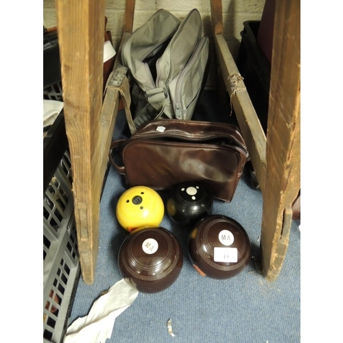 19 - Set of Green Master Crown Green bowls, initialled 'M.A'; also a pair of carpet bowls