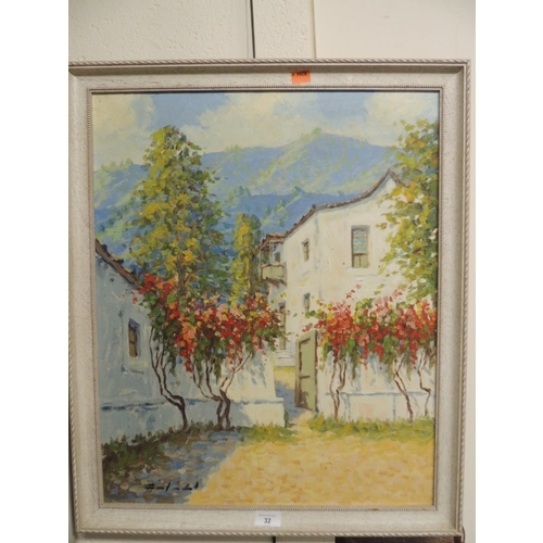 32 - Oil on canvas of a Mediterranean courtyard with mountain backdrop, framed
