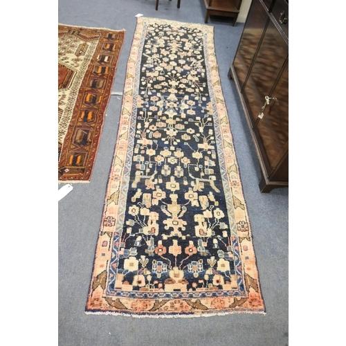 794 - Karajeh blue ground woollen runner, size 320cm x 87cm