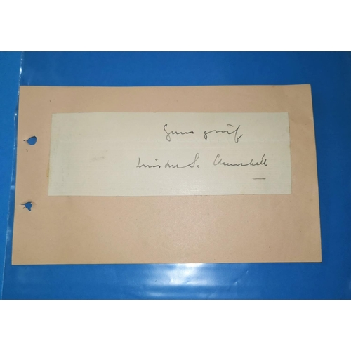383 - SIR WINSTON S. CHURCHILL autograph on letter piece laid on single album leaf...