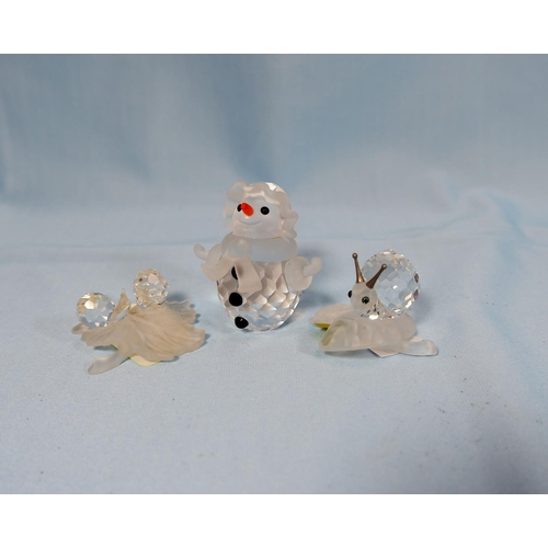 4ba601b7d 33 - 4 originally boxed Swarovski crystal Snowman A7475, Snail on leaf  A7615, 2